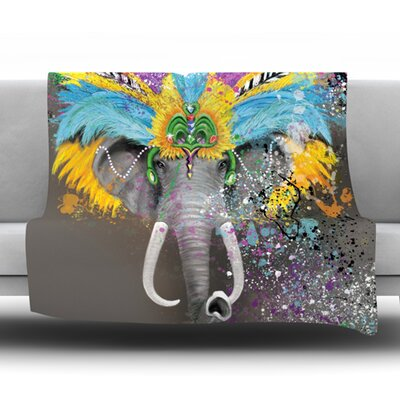 My Elephant with Headdress Fleece Throw Blanket Size: 80