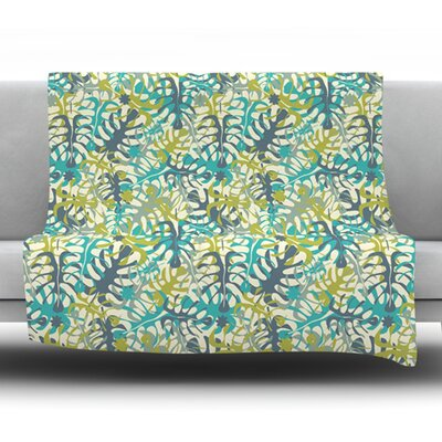 Tropical Leaves Fleece Throw Blanket Size: 80 L x 60 W