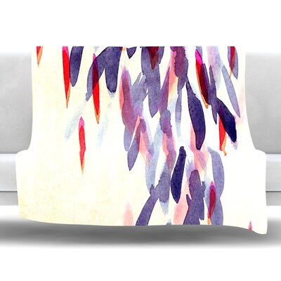 Abstract Leaves IV Fleece Throw Blanket Size: 80 L x 60 W