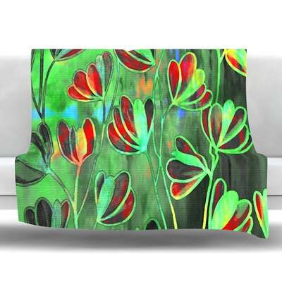 Efflorescence Fleece Throw Blanket Color: Red Green, Size: 60 L x 50 W