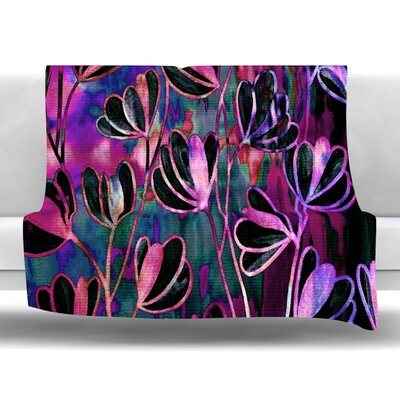 Efflorescence Fleece Throw Blanket Size: 60 L x 50 W, Color: Mixed Berry