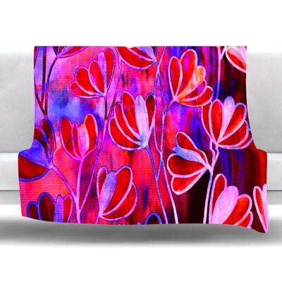 Efflorescence Fleece Throw Blanket Size: 80 L x 60 W, Color: Red Pink