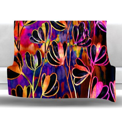 Efflorescence Fleece Throw Blanket Size: 80 L x 60 W, Color: Deep Jewel