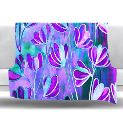 Efflorescence Fleece Throw Blanket Size: 80 L x 60 W, Color: Lavender Blue