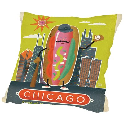 ASA-NP-Chicago Hot Dog Throw Pillow Size: 18 H x 18 W x 2 D