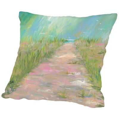 Beach Path Throw Pillow Size: 14 H x 14 W x 2 D
