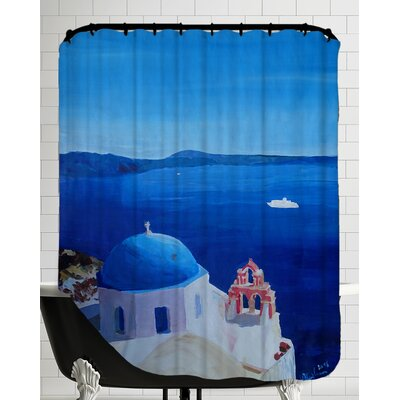 All Blue Santorini Oia Greece with Cruise Ship Shower Curtain