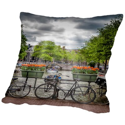 Amsterdam Gentlemencanal Bicycles Throw Pillow Size: 18 H x 18 W x 2 D