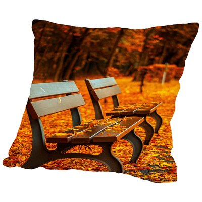 Autumn With Bank Landscape Cotton Throw Pillow Size: 14 H x 14 W x 2 D