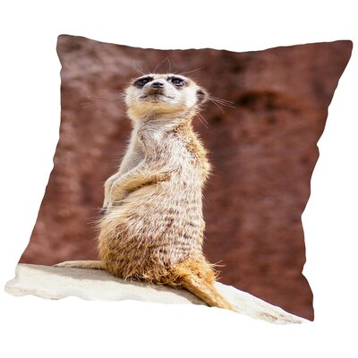 African Meerkat Animal Cotton Throw Pillow Size: 14 H x 14 W x 2 D