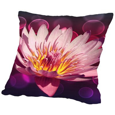 Asia Lotus Flower With Bokeh Art Cotton Throw Pillow Size: 16 H x 16 W x 2 D