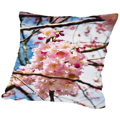 Asia Cherry Blossom Cotton Throw Pillow Size: 14 H x 14 W x 2 D
