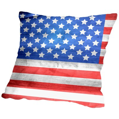American US Flag Throw Pillow Size: 18 H x 18 W x 2 D