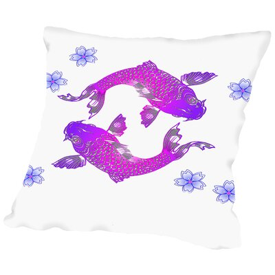 Floral Koi Fish Throw Pillow Size: 16 H x 16 W x 2 D