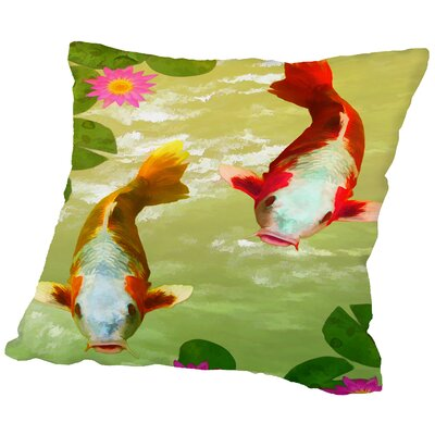 Asia Fish Koi Sealife Throw Pillow Size: 14 H x 14 W x 2 D