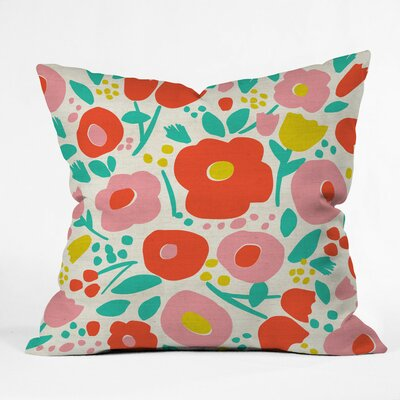 Delightful Floral Polyester Throw Pillow Size: 26 H x 26 W x 7 D
