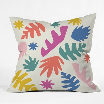 Cut Paper Garden Polyester Throw Pillow Size: 16 H x 16 W x 4 D