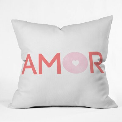 Amor and More Polyester Throw Pillow Size: 16 H x 16 W x 4 D