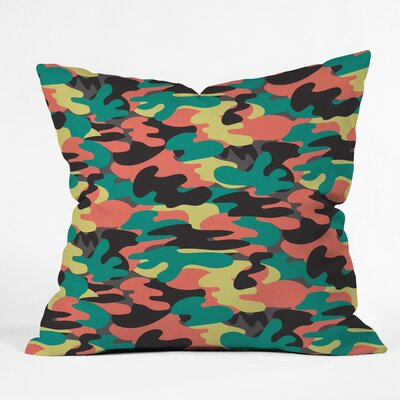 Zoe Wodarz Paintball Camo Polyester Throw Pillow Size: 16 H x 16 W x 4 D