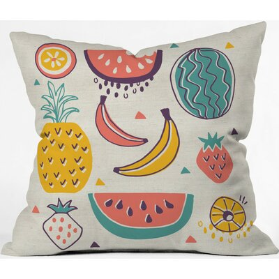 Tropical Fruit Plate Polyester Throw Pillow Size: 16 H x 16 W x 4 D