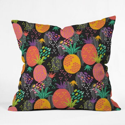 Midnight Pineapple Polyester Throw Pillow Size: 16 H x 16 W x 4 D