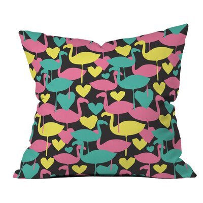 Zoe Wodarz Flamingo Loves Neon Polyester Throw Pillow Size: 16 H x 16 W x 4 D