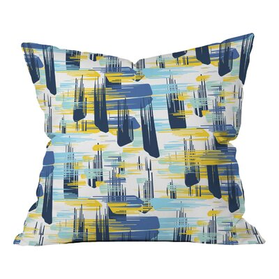 Indigo Ikat Polyester Throw Pillow Size: 26 H x 26 W x 7 D