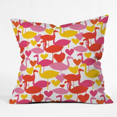 Flamingo Loves Polyester Throw Pillow Size: 16 H x 16 W x 4 D