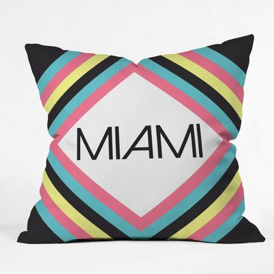 Miami Marquee Polyester Throw Pillow Size: 16 H x 16 W x 4 D