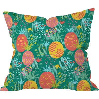 Day Pineapple Polyester Throw Pillow Size: 16 H x 16 W x 4 D