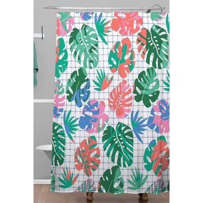 Zoe Wodarz Tropical Grid Shower Curtain
