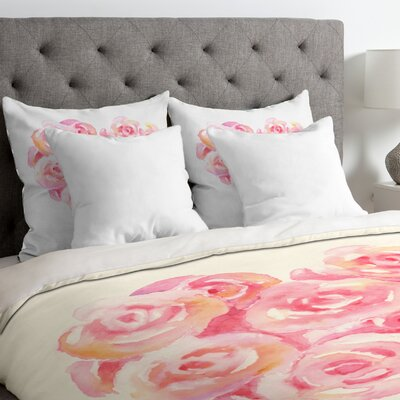 Rose Heart Duvet Cover Size: King