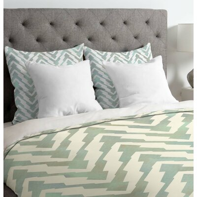 Georgiana Paraschiv Pastel Zigzag Duvet Cover Size: Queen