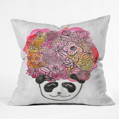 Panda Flower Throw Pillow Size: 16 H x 16 W x 4 D