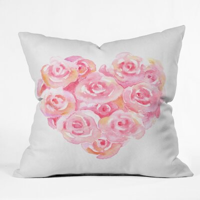 Rose Heart Throw Pillow Size: 18 H x 18 W x 5 D
