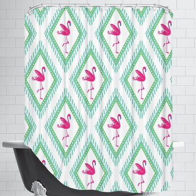 FlamingoCaraKozik Shower Curtain Color: White