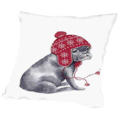 Frenchie sitting Throw Pillow Size: 18 H x 18 W x 2 D