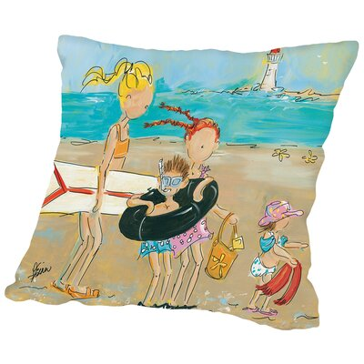 To The Beach Throw Pillow Size: 18 H x 18 W x 2 D