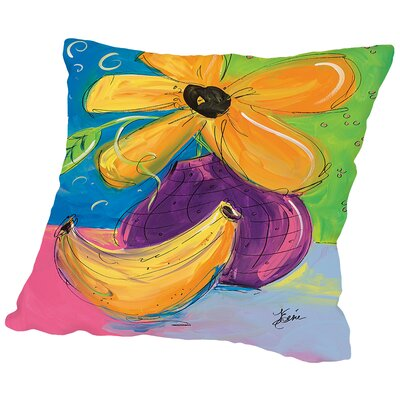 Flower and Banana Throw Pillow Size: 18 H x 18 W x 2 D