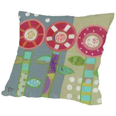 Trio of Flowers Throw Pillow Size: 16 H x 16 W x 2 D