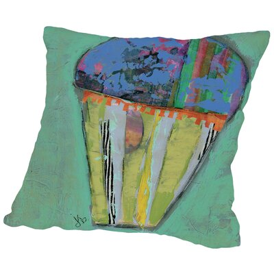 Cupcake III (Blue Icing) Throw Pillow Size: 18 H x 18 W x 2 D