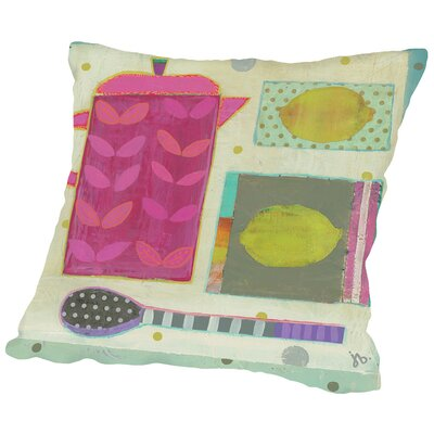 Tea With Lemons Throw Pillow Size: 18 H x 18 W x 2 D