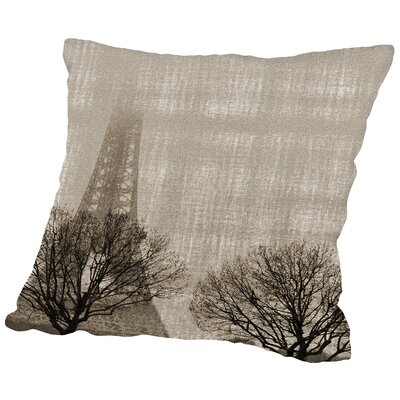 Eiffel In The Fog Throw Pillow Size: 18 H x 18 W x 2 D