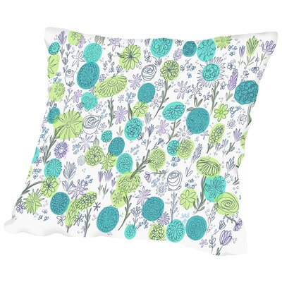 Floral Blues Throw Pillow Size: 14 H x 14 W x 2 D