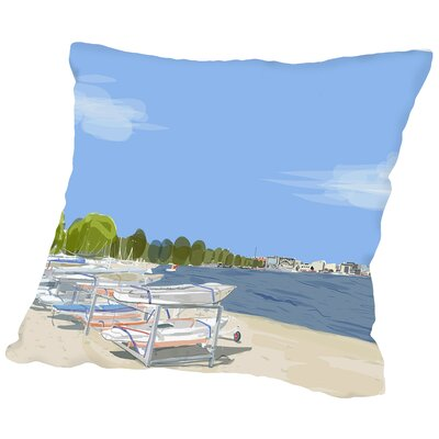 Dempster Beach Clouds Throw Pillow Size: 14 H x 14 W x 2 D