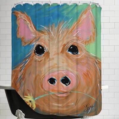 Pig With Yellow Flower Shower Curtain
