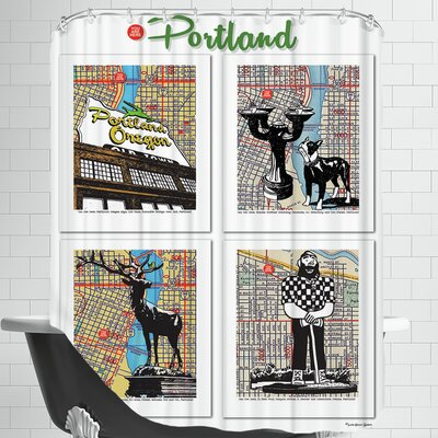 Portland Poster Shower Curtain