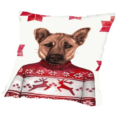 Dog with Snowflake Background Throw Pillow Size: 14 H x 14 W x 2 D