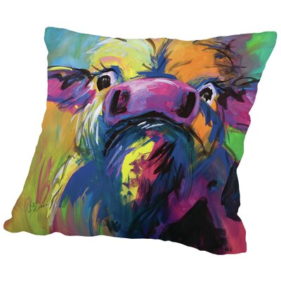 Colorful Cow Throw Pillow Size: 18 H x 18 W x 2 D