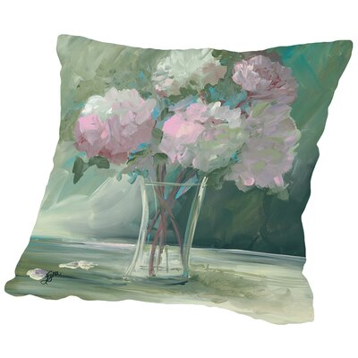 Pink Peonies Throw Pillow Size: 18 H x 18 W x 2 D